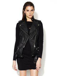 Pierre Balmain Leather Zipper Vest