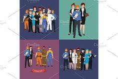 set workers team, profession people uniform, cartoon vector illustration. Human Icons