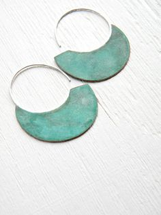 Big Urban Hoops, Verdigris - XL handmade copper sterling silver earrings, verdigris patina, blue green, made in Italy