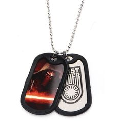 Amazon.com: Star Wars 7 Kylo Ren First Order Double Dog Tag Stainless... ($11) ❤ liked on Polyvore featuring jewelry, necklaces, stainless steel chain necklace, chain necklaces, dog tag necklace, dog tag jewelry and stainless steel necklace