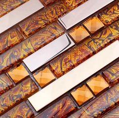 silver and chocolate brick mixed aluminum mosaic tile emt_al20 mix cb produkte mosaikfliesen und mosaik - Glas Backsplash Fliesen Ideen