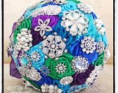Peacock bridal brooch bouquet designed by VioGemini