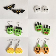 Halloween Perler Bead Earrings by SMwristlets on Etsy Mais Perler Beads, Perler Earrings, Perler Bead Art, Fuse Beads, Bead Earrings, Perler Bead Designs, Pearler Bead Patterns, Perler Patterns, Seed Bead Crafts