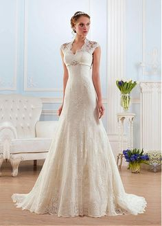 Gorgeous Lace Queen Anne Neckline A-line Wedding Dresses With Beadings