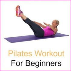 """Chris Freytag demonstrating a Pilates exercise called Swimmers with the words """"Pilates Workout For Beginners"""" next to her."""