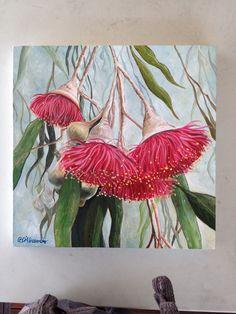 Eucalyptus flower Australian Native Flowers, Australian Art, Australian Painting, Botanical Drawings, Botanical Art, Plant Painting, Painting & Drawing, Floral Drawing, Leaf Art