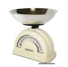 Salter Cream Retro Style Mechanical Kitchen Scale with Stainless Steel Bowl