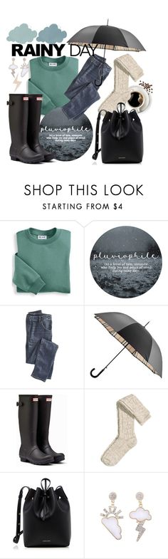 """""""Cozy as a Cloud"""" by kvojtkofsky ❤ liked on Polyvore featuring Blair, Wrap, Burberry, Hunter, H&M and Mansur Gavriel"""