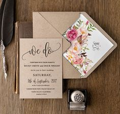Invite your best friends for a bridal shower by giving them lovely invites. Bespoke Wedding Invitations, Wedding Invitation Kits, Floral Invitation, Bridal Shower Invitations, Wedding Stationery, Watercolor Wedding Invitations, Wedding Matches, Save The Date, Wedding Cards