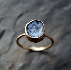 Blue Geode Druzy Ring in Solid 14K Yellow Gold by anatomi on Etsy https://www.etsy.com/listing/199720040/blue-geode-druzy-ring-in-solid-14k