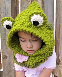 CROCHET PATTERN Frog Fun a hoppy hoodie frog hood by TheHatandI, $5.50