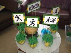 Track and Field Banquet. Pictograms were used for Centerpieces