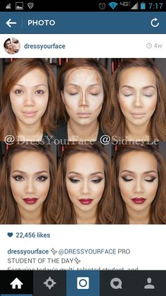 Contour, Red Lip Glam amazing makeup by dressyourface!