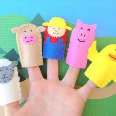 Eco-frendly felt farm finger puppets for kids