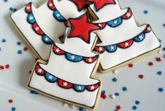 images of patriotic cookies | patriotic cake cookies with bunting for America's ... | Cookie Love!