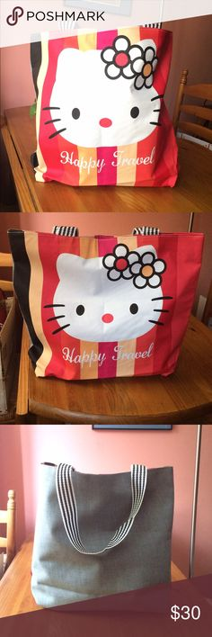 "🆕 Hello Kitty Tote Bag Large Hello Kitty travel shoulder tote. Multicolor bag with black & white striped handles. Zipper closure. One interior pocket. Image on front only. Approximately 17"" L x 15"" H, straps not included in measurement Polyurethane front & canvas back. Please ask if you have questions. Beach. Cute. Girlie/Girly. Shopping. Groceries. Fashion. Fun. Black. Yellow. Orange. Red. Grey/Gray. Bags Totes"