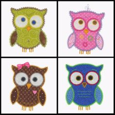OWL set of applique machine embroidery designs. Instant download now available.