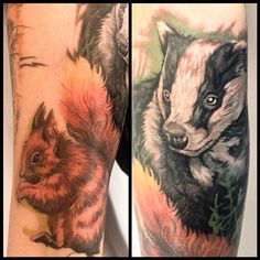 """by Ruth Jamieson - """"Badger done today as part of a English wildlife sleeve - squirrel healed"""" The colouring is so good, it's like the tail is made of fire."""