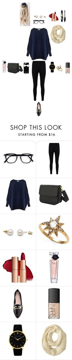 """""""Oversized blue sweater, leggings"""" by abbiplier on Polyvore featuring Boohoo, Paisie, Anzie, Lancôme, Max Factor, Kate Spade, NARS Cosmetics, Cole Haan and Casetify"""