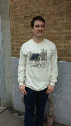 Men's T-shirt beige tan sand- Long sleeve - spring style fashion @ Black Bear Trading Asheville N.C.