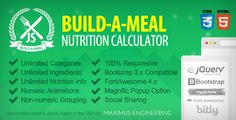 jQuery Build A Meal - Nutrition Calculator Plugin . A meal builder and nutrition calculator that allows your users to create and share meals by selecting ingredients from categorizes lists. All ingredients have easily defined nutrition attributes which are summed in the meal totals.