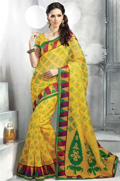 Fancy Yellow Color Casual Wear Saree