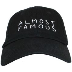 """Black \""""Almost Famous\"""" Cap ($22) ❤ liked on Polyvore featuring accessories, hats, black, caps and cap hats"""