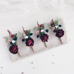 Excited to share this item from my #etsy shop: Wedding boutonniere, Burgundy Navy Button hole, Groomsman boutonniere #weddings #bouquet #wedding #red #green #winterboutonniere #burgundyboutonniere #winterwedding #boutonniereformen