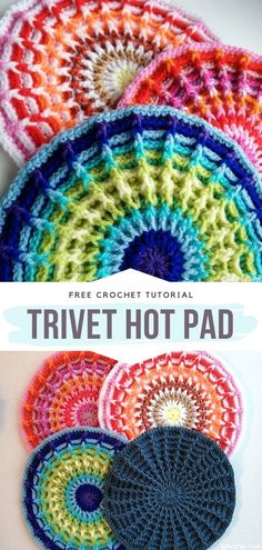 Trivet Hot Pad Free Crochet Pattern Wow, this pattern is evidently hot, in every possible way. We love this wonderful abundance of bright, almost neon shades. The designer has created a warm… Crochet Sheep, One Skein Crochet, Crochet Hot Pads, Single Crochet Stitch, Crochet Home, Thread Crochet, Crochet Crafts, Free Crochet, Crochet Coaster