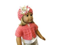 Sweater Hat Set 18 Inch Doll Pink Floral by PreciousBowtique, $13.00