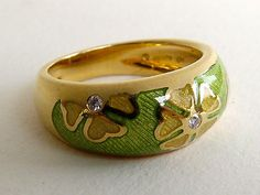 Faberge 18k Gold Enamel Ring Diamond Band Green Limited Edition Numbered | eBay