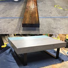 """Reclaimed Large coffee table made from a 6x21"""" glue lam beam"""