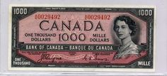 The Thousand Dollar Bill. 1954 devil's face, Dominion of Canada bank note, Bank of Canada bank note, Canadian currency, Bird Series one thousand dollars. I Am Canadian, Canadian Coins, Canadian Dollar, Canadian History, Thousand Dollar Bill, 2 Dollar Bill, Thousand Dollars, Dollar Coin, Money Management
