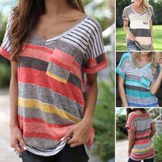 Wish | Women's Fashion Stripes Printed T-shirt V-neck Irregular Loose Casual Short Sleeve Summer Plus Size Tops
