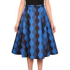 Vivetta Neoprene skirt with optical print ($105) ❤ liked on Polyvore featuring skirts, blue, print skater skirt, blue skater skirt, blue circle skirt, flared skirt and patterned skirt