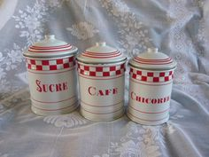 A set of French #Enamel Tea #Coffee #Sugar Canisters Jars,  View more on the LINK: http://www.zeppy.io/product/gb/3/231671901/