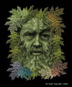 https://flic.kr/p/3yhrbW | The Green Man | My Rendering of The Green Man. Composed in Photoshop. The leaves around the perimeter reflect the changing of the seasons.
