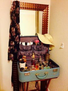 Repurposed vintage suitcase as my vanity.