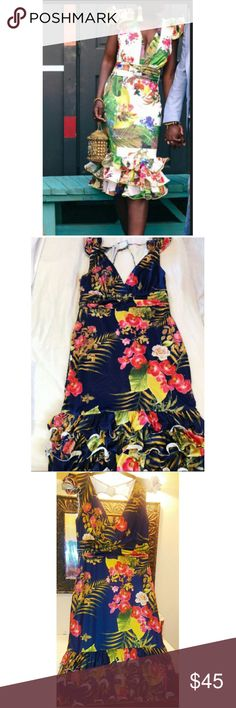 NEW BLUE FLORAL RUFFLE DRESS Nwt Blue tropical floral ruffle bodycon dress. Will hug your curves. Super stretchy. Will fit a sz 14/16 XL or 1x           Fashion Nova Forever 21 Plus Nude Heels Sandals Steve Madden Jessica Simpson Dresses