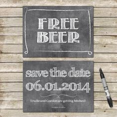 Funny Save The Date Cards / Chalkboard Hand Drawn Style Save-The-Date Cards / PRINTED 5x7 / Free Beer Wedding