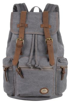 Amazon.com  CLELO Vintage Canvas Leather Schoolbag Laptop Backpack Rucksack  (Grey)  Clothing 77e018490d1a0