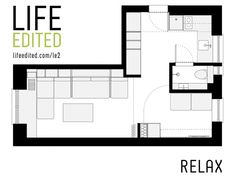 LifeEdited 2 is a prototype micro apartment in New York City created by Graham Hill, founder of popular eco website TreeHugger. Studio Apartment Bed, Apartment Cost, Micro Apartment, Apartment Floor Plans, New York City Apartment, Apartment Layout, Apartment Ideas, Interior Decorating, Interior Design