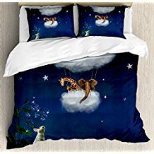 Fantasy Duvet Cover Set Queen Size by Ambesonne, Rabbit on Grass Looks to Giraffe and Elephant Up in the Cloud Balloon Fiction Image, Decorative 3 Piece Bedding Set with 2 Pillow Shams, Multicolor Single Duvet Cover, Duvet Cover Sets, Queen Size, King Size, Giraffe, Elephant, Pillow Shams, Pillows, Home Bedroom