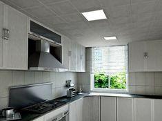 cuisine grise avec faux plafond led, dalles à led design pas cher