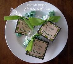 Tag bags of green chocolate kisses with this free printable for St. Paddy's.
