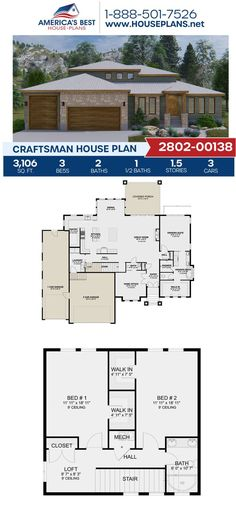 Exclsuively to our website, Plan 2802-00138 is fulfilled with 3,106 sq. ft., 3 bedrooms, 2.5 bathrooms, a loft, an office, a kitchen island and an open floor plan. Visit our website for more information about Plan 2802-00138. Craftsman Style Homes, Craftsman House Plans, Better Love, Architectural Elements, Natural Materials, Square Feet, Art Decor, Floor Plans, House Design