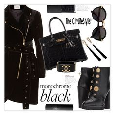 """Monochrome: All Black Everything"" by stranjakivana ❤ liked on Polyvore featuring La Mania, Hermès, Dolce&Gabbana, Cartier, NARS Cosmetics, Chanel, allblack and polyvoreeditorial"