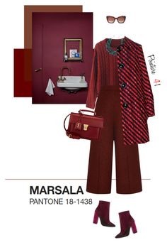 """Burgundy... Marsala... Rouge bordeaux"" by mrs-len ❤ liked on Polyvore featuring Proenza Schouler, Giambattista Valli, DIANA BROUSSARD, Thierry Lasry, Miu Miu and Yves Saint Laurent"
