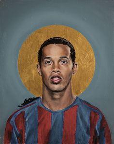 Football Icon - Ronaldinho 2006 als Premium Poster door David Diehl Art Football, Soccer Art, Legends Football, Football Icon, Football Players, Ronaldo, David Diehl, Ronaldinho Wallpapers, Framed Art Prints