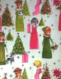 Very Cute Young Girls Getting Ready for Christmas Never Used Single Sheet of Vintage Hallmark Christmas Wrapping Paper x Made/Printed in the USA No damage. Old Time Christmas, Hallmark Christmas, Christmas Paper, Christmas Love, Christmas Greeting Cards, Christmas Greetings, Vintage Christmas Wrapping Paper, Retro Christmas Decorations, Vintage Christmas Images